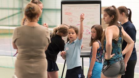 Youngsters enjoy the session with Kathy Martin at the Elena Baltacha Foundation. Picture: PAVEL KRIC