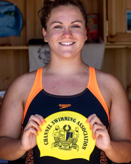 Channel swimmer Charlie Smith with her Channel Swimming Association hat.Picture: Stephen Wallerww