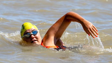 Channel swimmer Charlie Smith in the water off Felixstowe.Picture: Stephen Wallerwww.stephenwalle