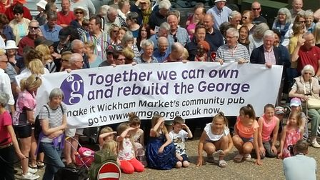 Wickham Market villagers at the launch of the George community share scheme Picture: GEORGE HERING