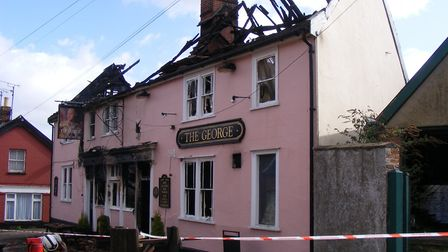 The George, Wickham Market which was destroyed by fire in 2013 Picture: THE GEORGE COMMUNITY PUB GRO