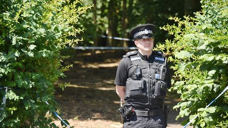 Police at the scene of a shooting in Norwich Picture: ANTONY KELLY