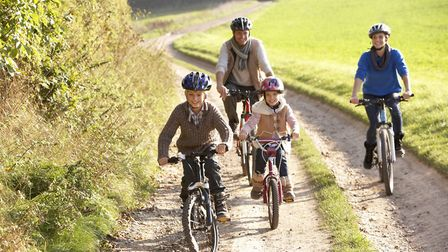 Family bike ride through the Essex countryside.