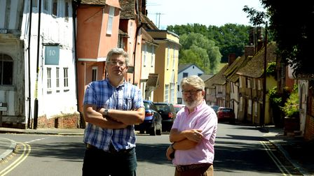 County councillor Robert Lindsay, left, and parish council chairman Carroll Reeve in Water Street, L