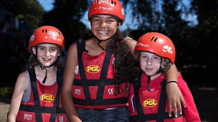 Pupils from Gamlingay First School enjoying a day of raft building and sailing them on the Deben in