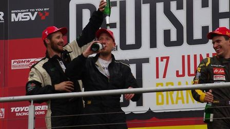 David Graves, left, celebrates his win at Brands Hatch. Picture: GRID ART