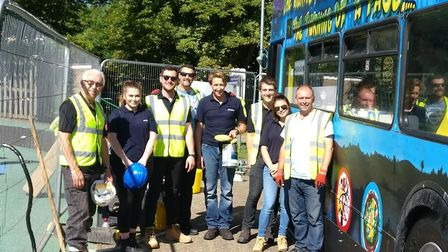 Company volunteers who worked to make the bus a reality Picture: PHELAN CONSTRUCTION