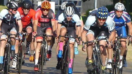 Graham Collins (TPH Hadleigh) leads the charge at the Suffolk Cycle Race Series. Picture: FERGUS MUI
