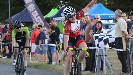 Ipswich rider Rebecca Johnson wins from Gemma Melton at the Suffolk Cycle Race Series. Picture: ALAN