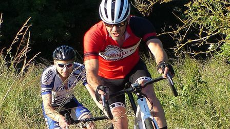 Winner Matt Denny leads Paul Bird at the Maglia Rosso cyclo-cross at Hawstead. Picture: FERGUS MUIR