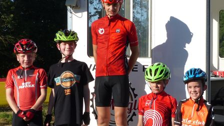 Young award winners at the Maglia Rosso evening cyclo-cross. Picture: FERGUS MUIR