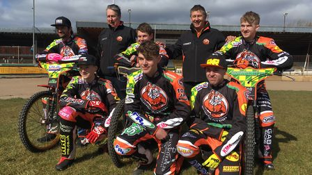 The Mildenhall Fen Tigers ride a double header on Sunday - Back row (L-R): Danny Ayres, Phil Kirk (t