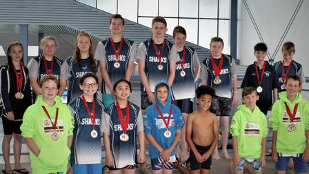 Mildenhall Sharks at a swimming gala in Ipswich Picture: MILDENHALL SHARKS