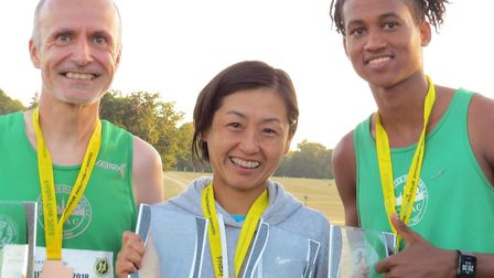 The Colchester Harriers trio of (from left) Paul Preston (first over-45), Aiko Hennington (third la