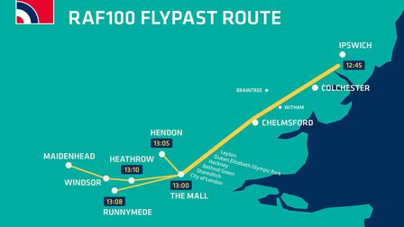 A map of the flypast Picture: MOD