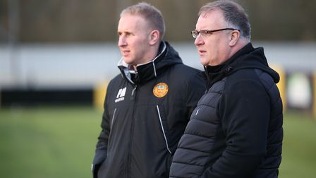 Stowmarket Town boss Rick Andrews, right, with assistant Paul Musgrove Picture - RICHARD MARSHAM