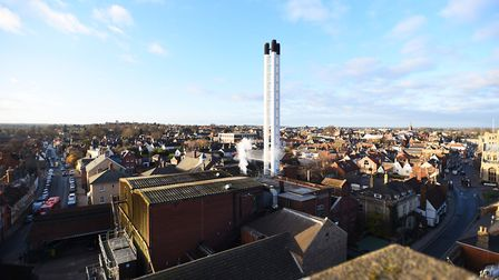 A rooftop view of the Greene King brewery Picture: GREGG BROWN