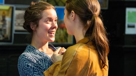 Elizabeth Crarer and Bethan Nash in rehearsals for Polstead, Eastern Angles summer tour which tells