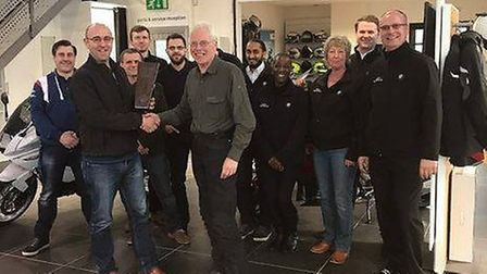 Cannon BMW team members are Braintree, when the dealership received the BMW Motorrad Dealer of the Y