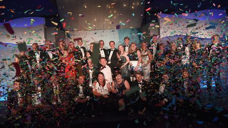 Jubilant winners celebrate at last year's ceremony - but who will take home the trophies at the Suff