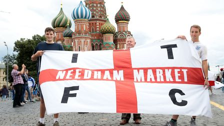 England fans from Needham Market in Red Square Picture: Aaron Chown/PA WIRE