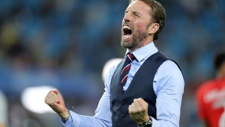 England manager Gareth Southgate celebrates after beating Colombia Photo: PA