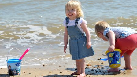 Lily and Isaac enjoy a paddle on the sunny Felixstowe beach Picture: SARAH LUCY BROWN