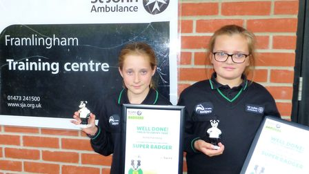 Keira Hambling and Maisy Pendle with their Super Badger Awards Picture: ST JOHN AMBULANCE