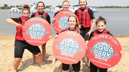 The first people hit the brand Aqua Park Suffolk at Alton Water on Friday Picture: SPOTTYDOG COMMUNI