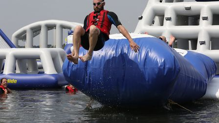 Taking the plunge: A challenger takes on the new Aqua Park Suffolk Picture: SPOTTYDOG COMMUNICATIONS