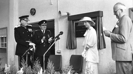 Duchess of Gloucester unviels a plaque as she opens Princes Street Fire Station in 1982 Picture: RIC