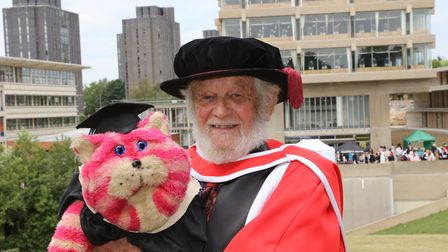 Peter Firmin, creator of childrens classic show Bagpuss, at the University of Essex, where he recei