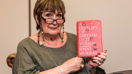 Author Dame Jenni Murray, with her book at The Felixstowe Book Festival, held at The Orwell Hotel, F