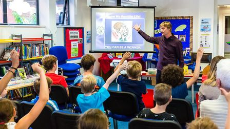 The Nickl Arnold 'My Horrible Science Life workshop' at Felixstowe Library, part of the Felixstowe B