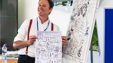Kev F Sutherland, who hosted Kev F's Comic Art Masterclass at Felixstowe library as part of the Feli