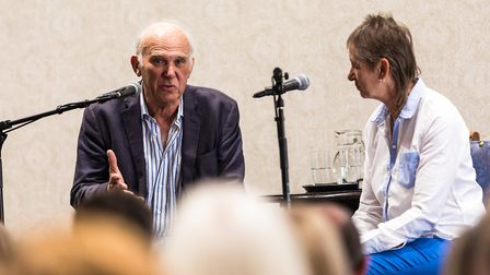 Vince Cable, pictured with chair Mandy Morton at the Felixstowe Book FestivalPicture: STEPHEN WALL