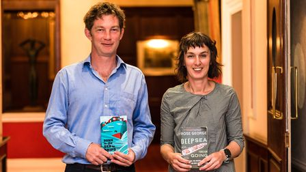 Authors Rose George and Horatio Clare, with their books about their trip on a container ship Picture