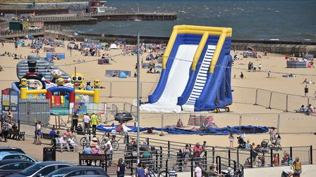 Police cordon around the Bounce About play area at Gorleston beach Picture: ANTONY KELLY