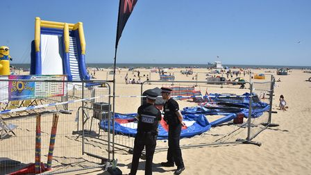 Police cordon around the Bounce About play area at Gorleston beach.Picture: ANTONY KELLY