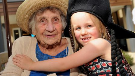 Brenda Barden and her great granddaughter at Davers Court Picture: LUCY TAYLOR