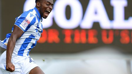 Kane Vincent-Young celebrates his Goal of the Season strike against Forest Green. Photo: Pagepix