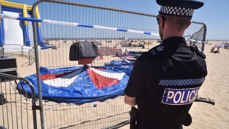 A police cordon was in place around the Bounce About play area after the incident at Gorleston beach