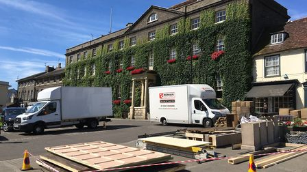 Activity on the Angel Hill ahead of filming for a new David Copperfield film Picture: MICHAEL STEWAR