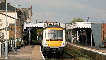 Greater Anglia train at Woodbridge station on the East Suffolk Line Picture: PAUL GEATER