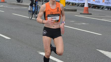 Helen Davies, on her way to successfully defending her Brighton Marathon title in April. Picture: JA