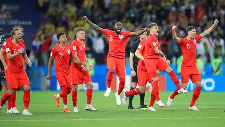 England players celebrate winning the penlaty shoot-out of the FIFA World Cup 2018, round of 16 matc