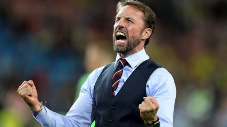 England manager Gareth Southgate celebrates after winning the FIFA World Cup 2018, round of 16 match