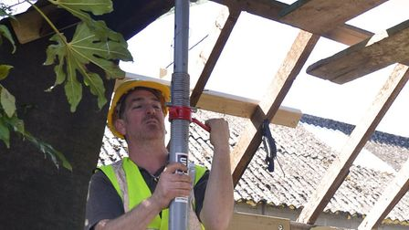 Uni-Prop's Acrow Plus adjustable support in action on a building site Picture: UNI-PROP