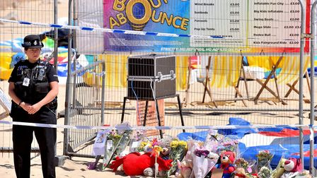 The scene at Gorleston beach where a young girl died while on an inflatable trampoline. Picture: NI