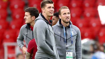 Nick Pope, pictured with Harry Kane prior to England's victory over Colombia. Picture: PA